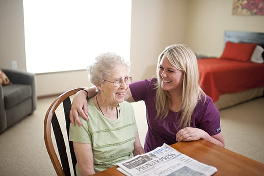 caregiver with resident